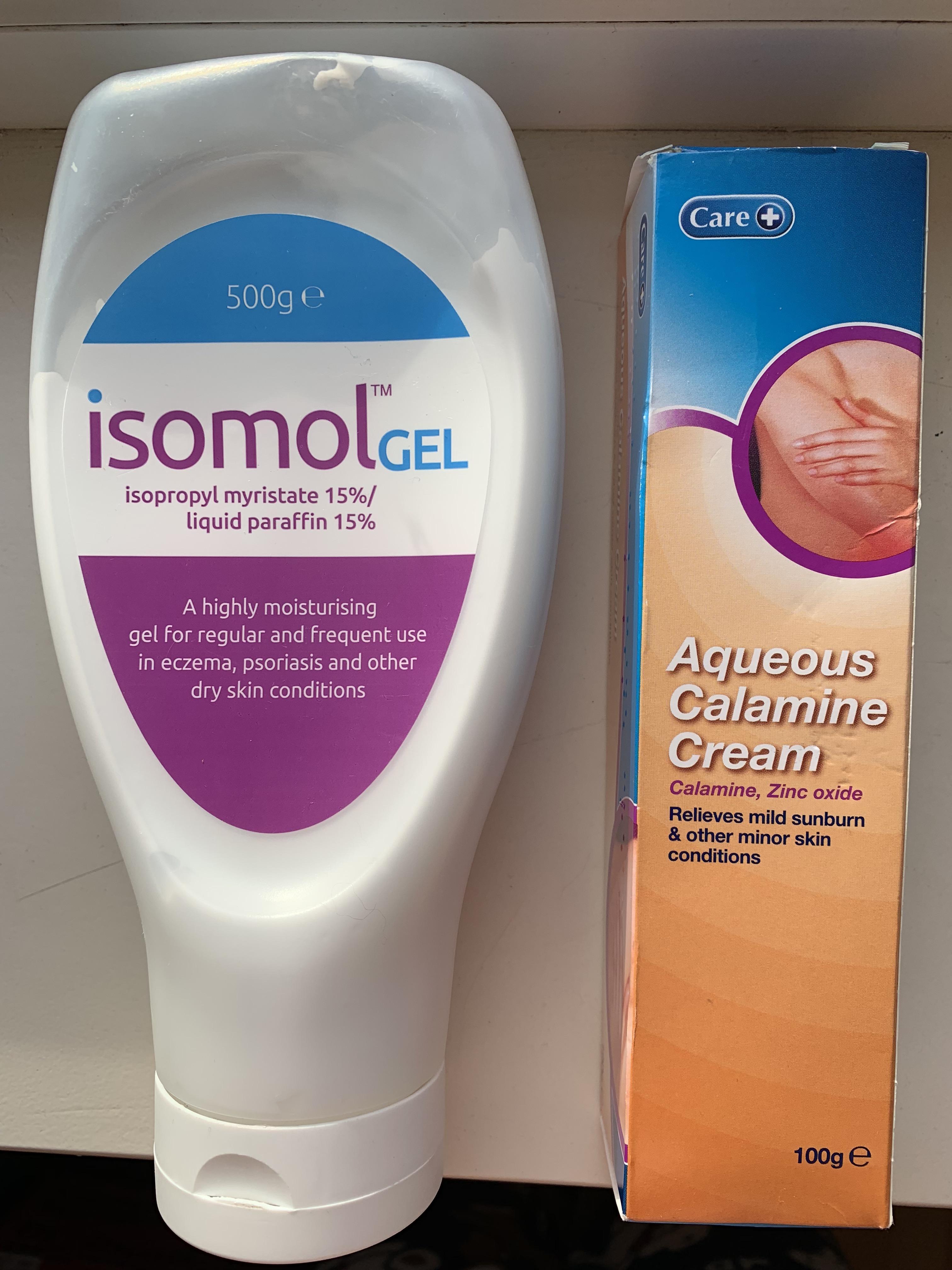 Isomol Gel and Aqueous Calamine Cream