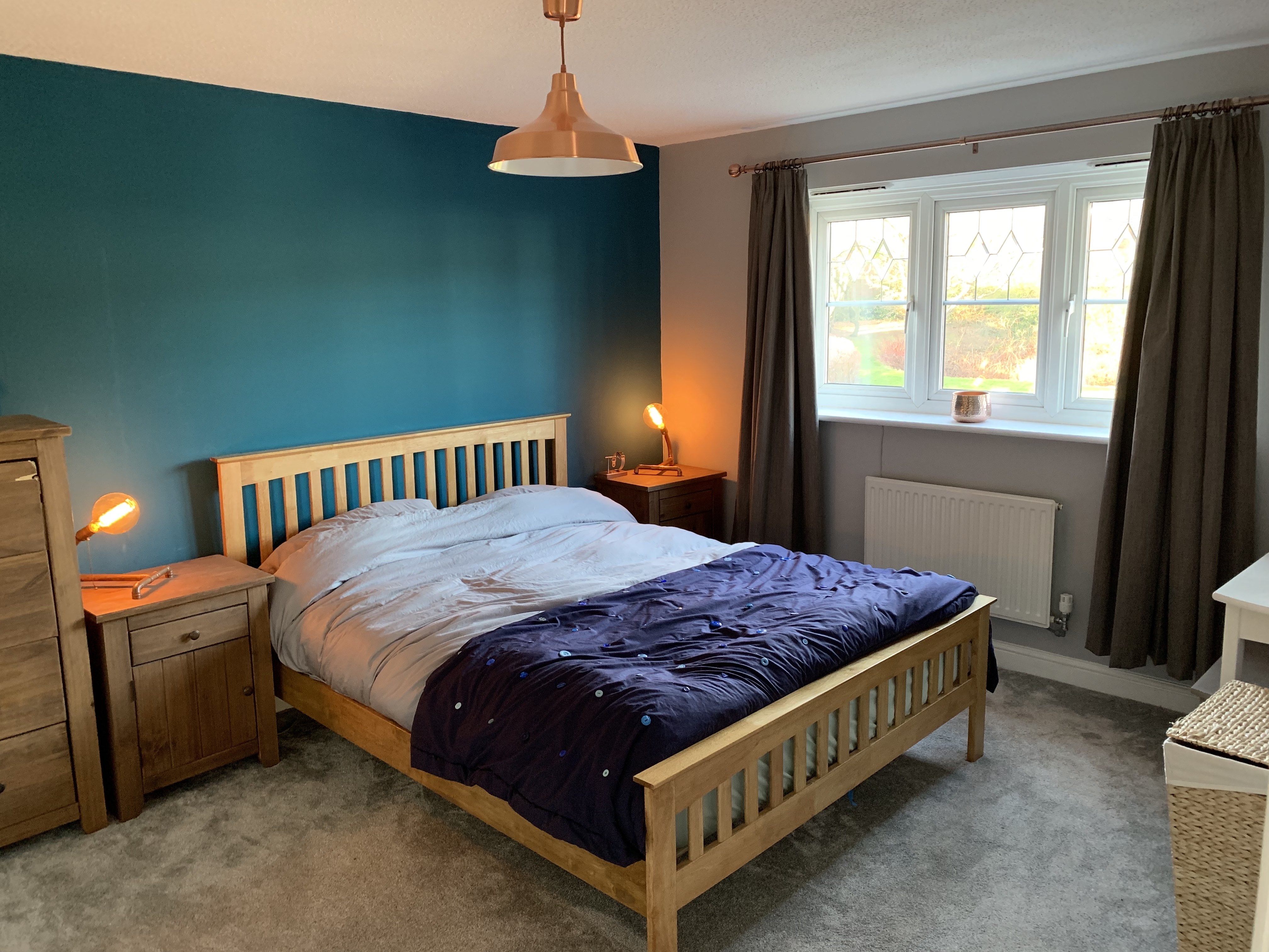 Standout Pieces In Our Teal And Copper Bedroom